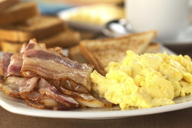 Bacon, eggs and whole wheat toast