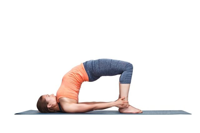 Lift your back until you feel the stretch in your hip flexors when in Bridge pose.
