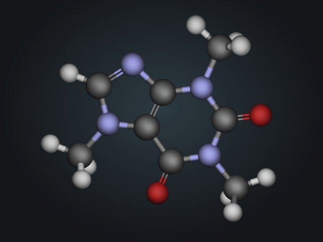 Molecule structure of caffeine.