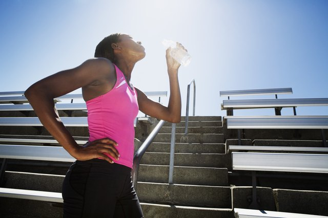 Make sure you drink plenty of water before, during and after workouts.