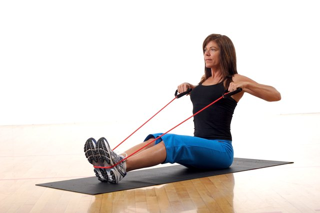 Handles make resistance bands easier to grip.