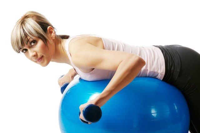 Rows over an exercise ball challenge the muscles of your upper back.