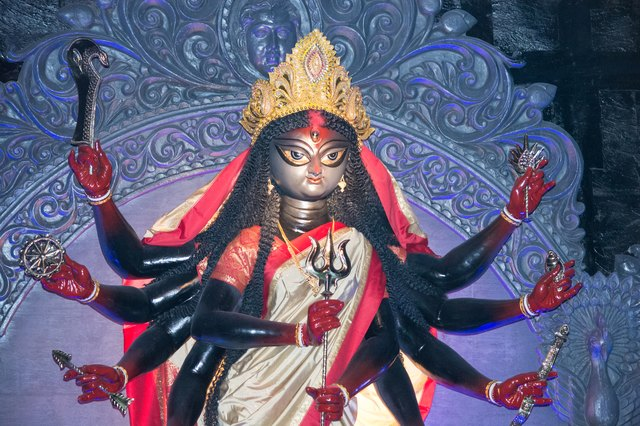 The wrathful goddess Kali is said to be the embodiment of Kundalini in its newly awakened form.