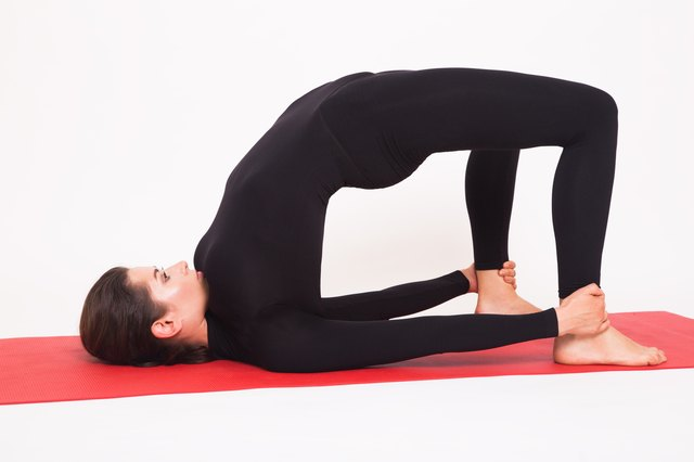 Keep your feet hip-distance in Bridge pose.