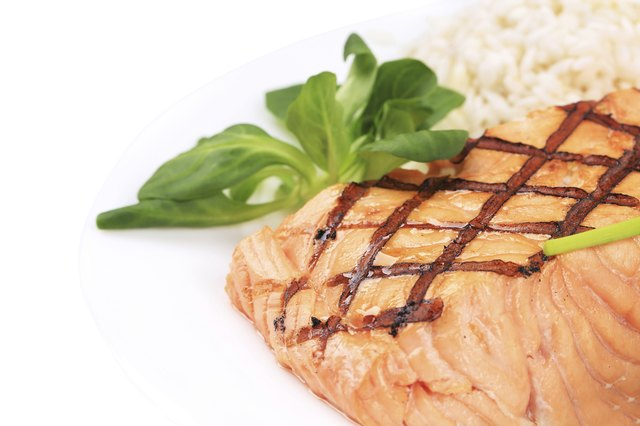 Enjoy salmon and rice for dinner.