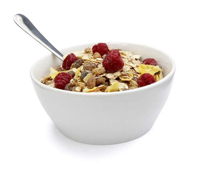 Whole grain cereal and fruit.