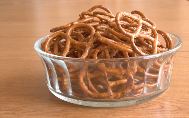 Glass bowl filled with pretzels
