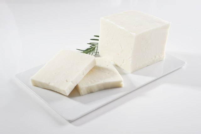 Feta cheese on plate.