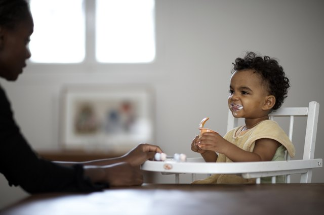 One year olds generally need about 850 calories each day.