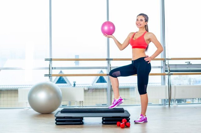 Exercise steps and yoga balls can be used for shoulder proprioception exercises.