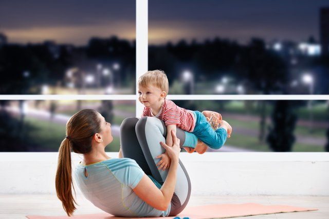 Once your baby is old enough, she can join you for your workouts.
