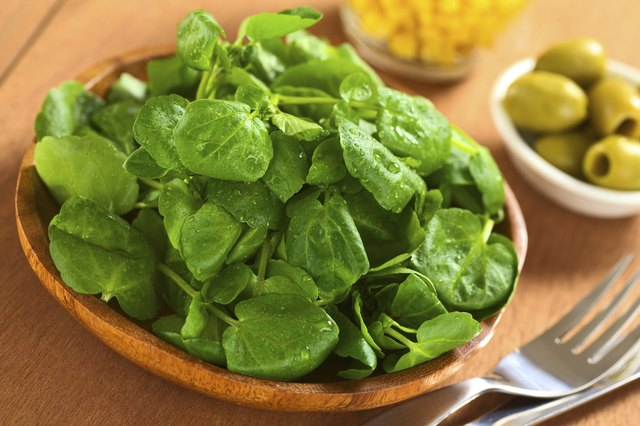 fresh watercress in bowl