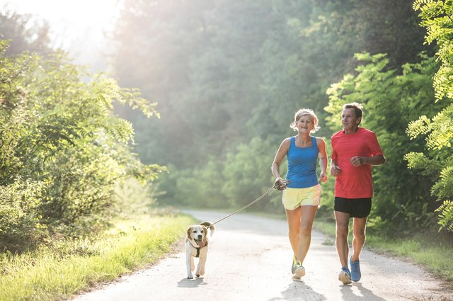 Bringing a friend or a dog on your run helps you slow down a little.