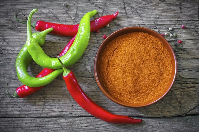 Spicy chili peppers and chili powder