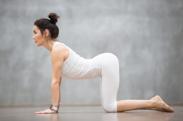 Cow pose features an exaggerated sag in your back.