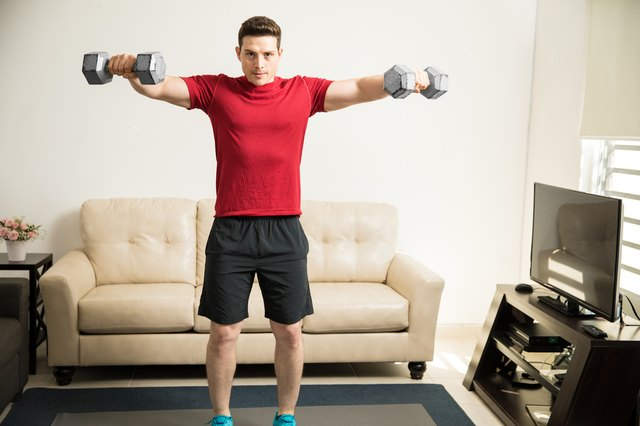 Use household items such as water bottles if you don't own dumbbells.