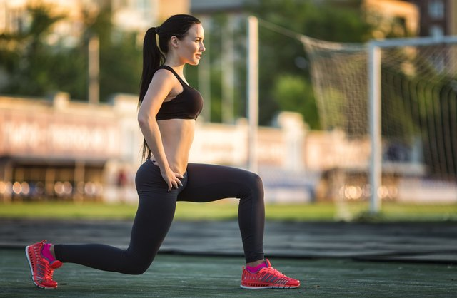 Lunge hops require strength and stamina.