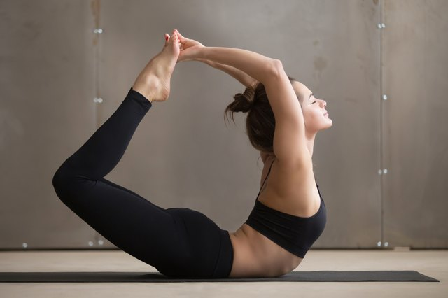The Bow pose provides a deep back bend stretch for the spine.