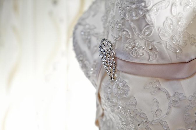 How to Add Rhinestones to a Wedding Dress