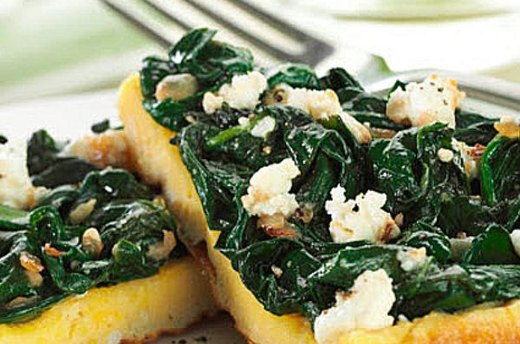 Open Faced Spinach Omelette
