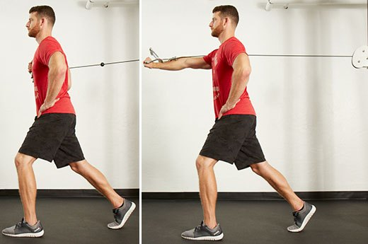 6. Split-Stance Single-Arm Cable Chest Press