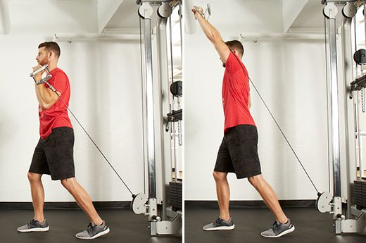 7. Split-Stance Single-Arm Shoulder Press