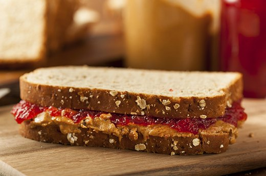 14. Conventional Peanut Butter and Jelly on White Bread