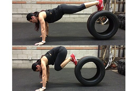 11. Decline Tire Crunches