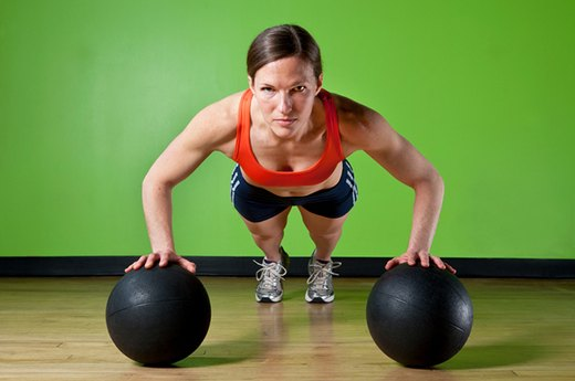 4. OLD MOVE: Pushups - NEW MOVE: Pushups on Two Medicine Balls