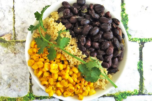 3. Couscous Verde Bowl With Black Beans and Corn