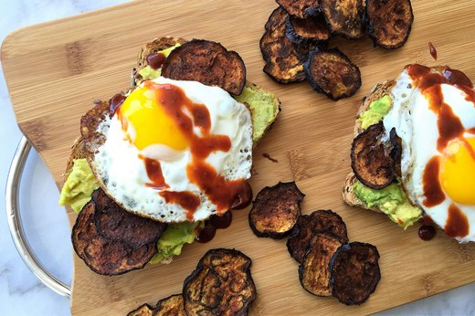 "3. Sriracha Avocado Toast With Eggplant ""Bacon"" and Egg"