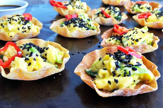 8. Scallion Scrambled Eggs in Dumpling Cups