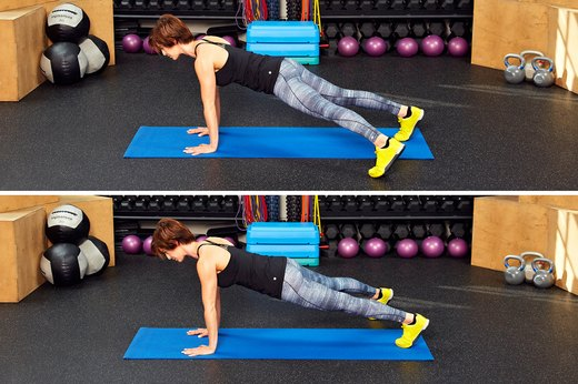 Plank With Alternating Toe Touches