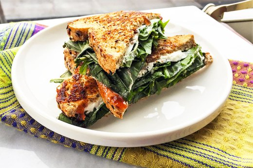 5. Grilled Goat Cheese and Dandelion Greens