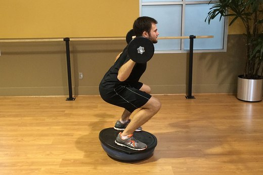 Squat Variation #2: Add a BOSU Ball and Barbell