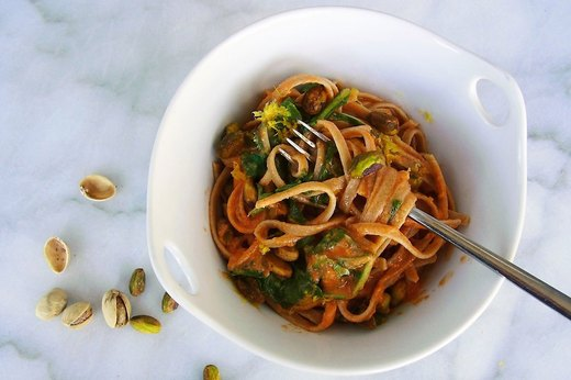 7. Creamy Tomato Fettuccine With Arugula and Pistachios