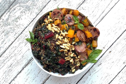 7. Swiss Chard, Squash and Natural Sausage Bowl