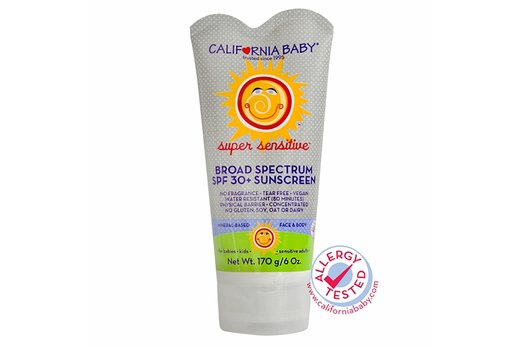 8. BEST SENSITIVE SKIN BABY SUNSCREEN: California Baby Super Sensitive Sunscreen Lotion, SPF 30+