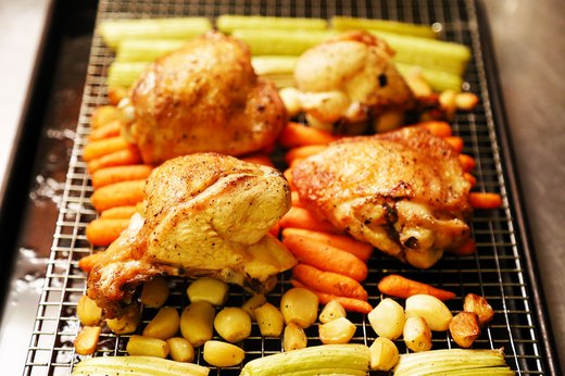7. Roast Chicken, Carrots and Celery With 40 Cloves of Garlic