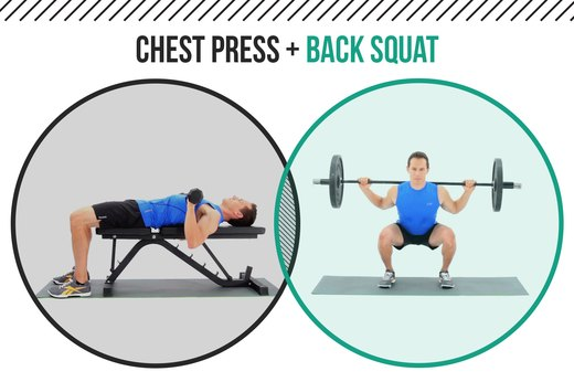 6. Dumbbell Chest Presses + Back Squats
