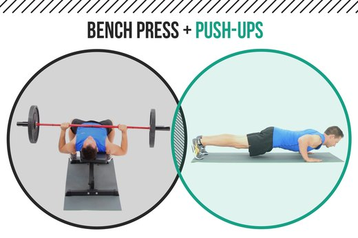 1. Bench Presses + Push-Ups