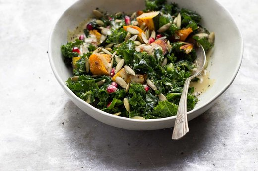 Wilted Kale Salad With Roasted Squash and Maple Dijon Dressing