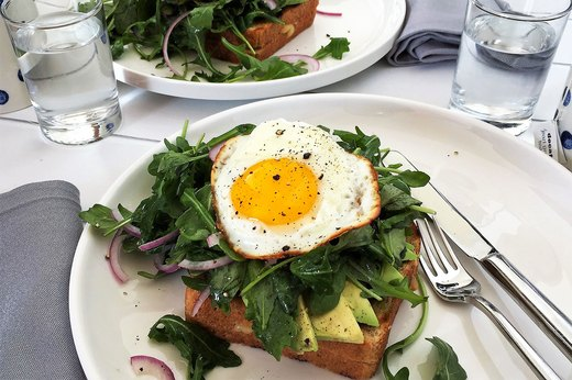 4. Grilled Cheese Sandwiches With Avocado, Arugula and Fried Egg