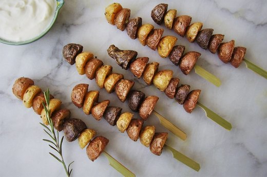 6. Tri-Color Potato Skewers and Dip