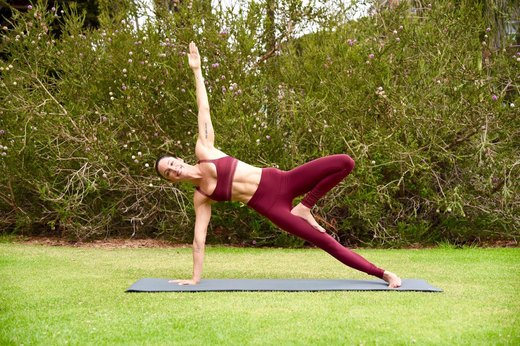 7. Side plank With Top Leg in Tree Pose