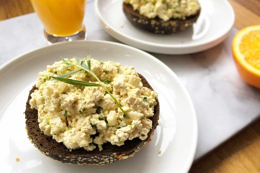 "6. Open-Face ""Egg Salad"" on Pumpernickel Bagel"