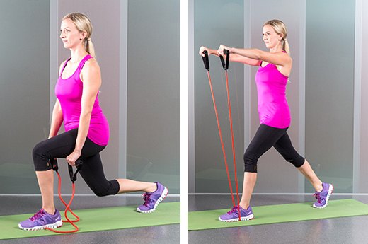 5. Lunges and Shoulder Raises With a Resistance Band