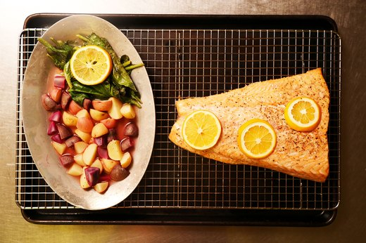 5. Greek Salmon With Lemon Potatoes and Greens