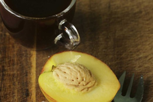 15. EAT AT WORK: Large White Peach, Almonds and Black Coffee