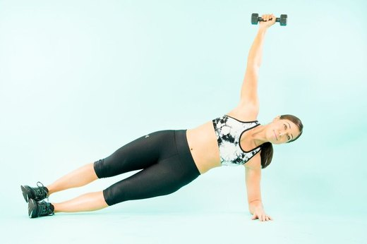 7. Side Plank Triceps Extension
